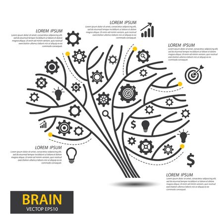 Infographics vector brain design. vector illustration.