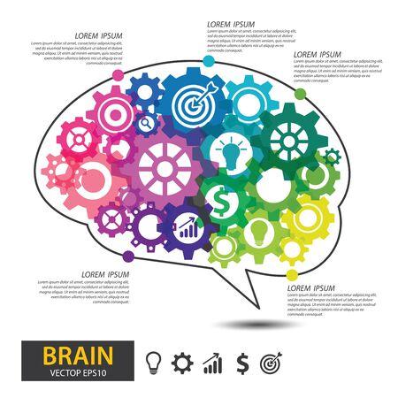 Infographics vector brain design. Brain with gears vector illustration.