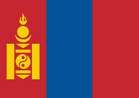 Flag of Mongolia vector illustration