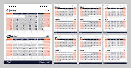 2020 Calendar planner template design. Vector illustration. Vector Illustration