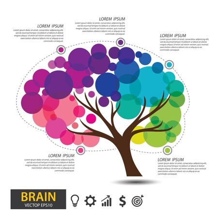 Brain tree design. infographic template presentation for science, technology and business concept. vector illustration. Ilustración de vector