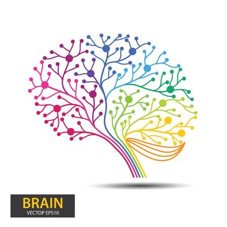Concepto creativo del diseño del árbol del cerebro. Árbol digital, tecnología, red, inalámbrico, internet, comunicación, ilustración de vector de naturaleza.