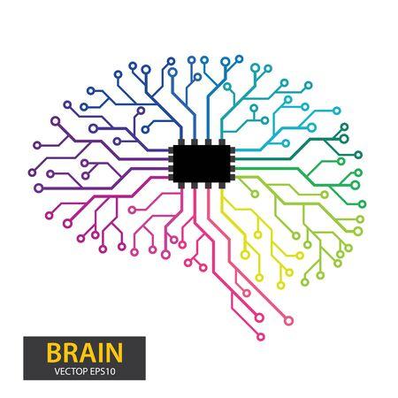 Circuit board human brain. vector illustration.