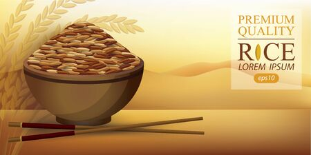 Rice Bowl and chopstick. Vector illustration. 矢量图像
