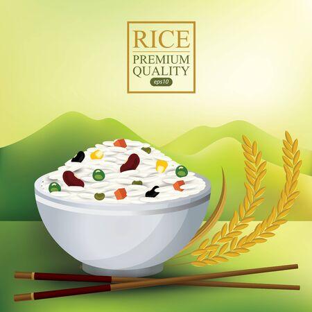 Rice Bowl and chopstick. Vector illustration. Çizim