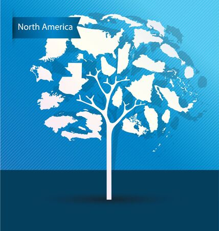 Tree design. Countries in North America. World Map vector Illustration. Illustration