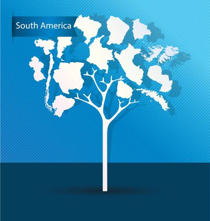 Tree design. Countries in South america. World Map vector Illustration.