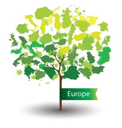 Tree design. Countries in Europe. World Map vector Illustration. Vektorové ilustrace