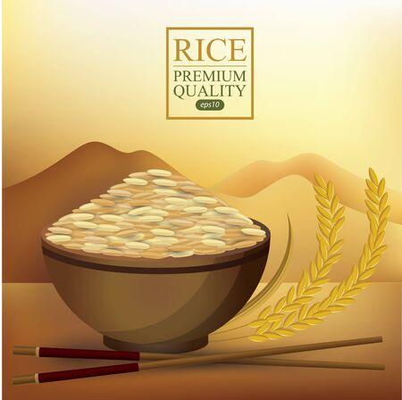 Rice Bowl and chopstick. Vector illustration. Ilustração Vetorial