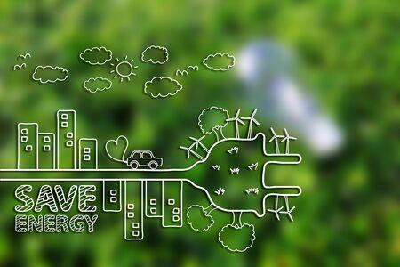 Concept d'écologie de dessin créatif sur fond d'herbe verte.