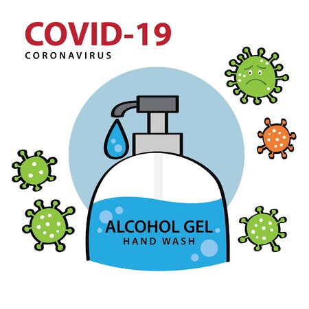 Alcohol gel hand wash for cleaning and clear germ, bacteria. Illustrations concept coronavirus COVID-19.