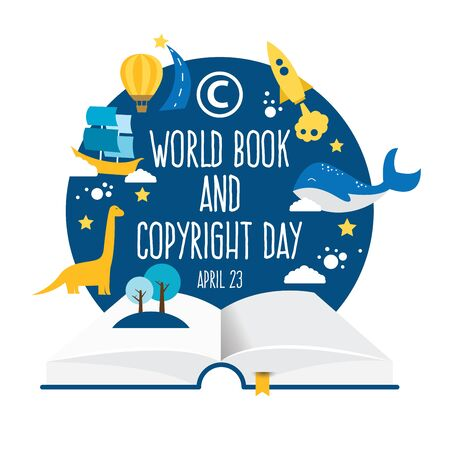 World Book and Copyright Day vector illustration.