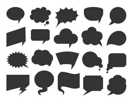 Speech bubble black flat set. Blank comic book text frames. Empty cartoon cloud balloon for chat message, social media dialog. Different shapes speak think design elements isolated on white background