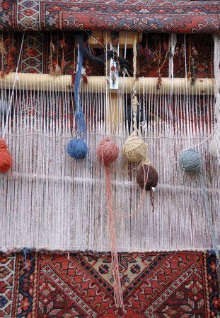 Weaving loom in a small village in Iran