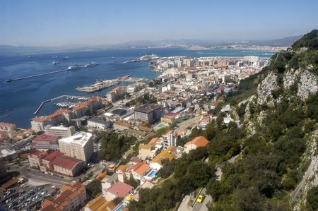 Birdview over Gibraltar seen from the rock                                  Stock Photo