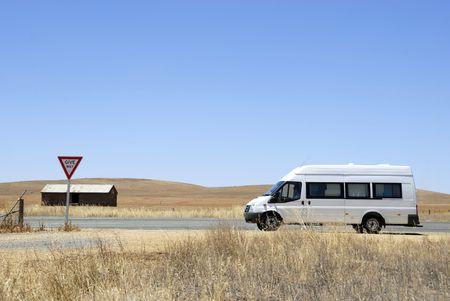 campervan: Campervan on its way in the desert in Australia