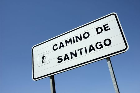 Sign at the pilgrim road to  Santiago of Compostela in Spain Stock Photo