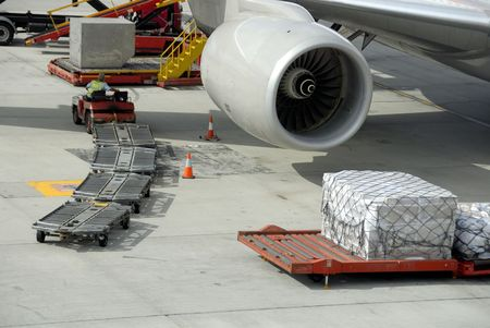 Loading an airplane at Kuala Lumpur airport