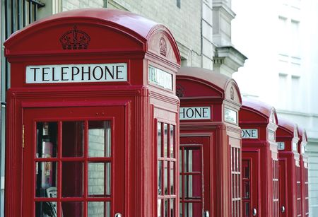 Typical British red telephone booths in London