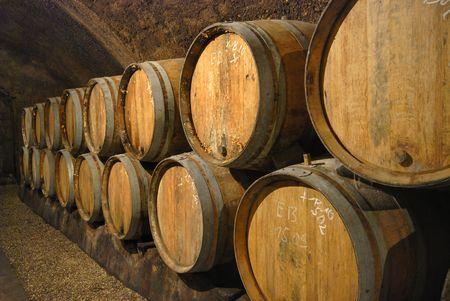 Wijn grot met ouderwetse houten vaten