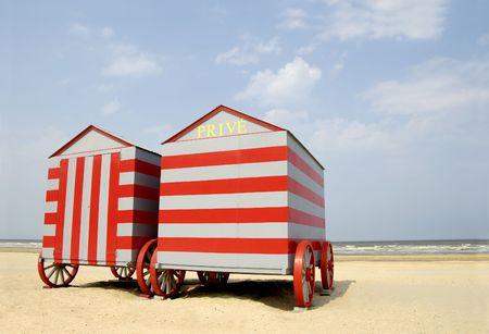 Beach booths at the Belgium coast Stockfoto