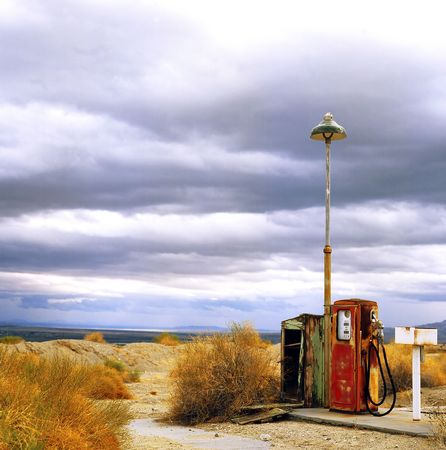 petrol pump: Gas station alongside the old Route 66