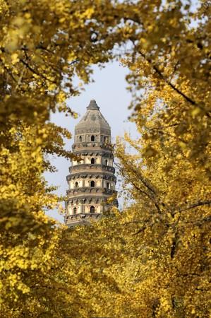China Suzhou Yunyan leunend pagode in Tiger Hill