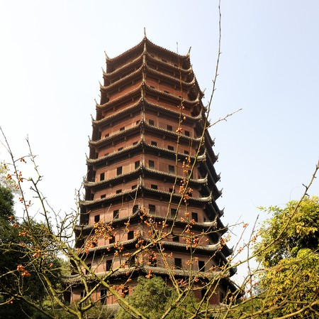 The Six Harmonies Pagoda is located on Yuelun Hill overlooking the Qiantang River, and south of West Lake (Xi Hu) and is one of the true masterpieces of ancient Chinese architectures. Stock Photo