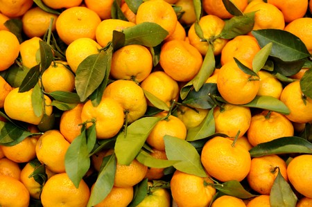 Bright Tangerines with leafs at the market Stock Photo - 4242033
