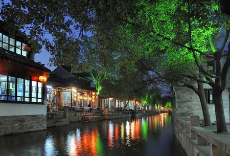 zhouzhuang: Zhouzhuang, water city near Shanghai, reflection on water, traditional chinese architecture