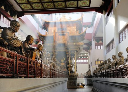 Hall with statues at Lingyin Temple, Hangzhou, Shandong Province, China