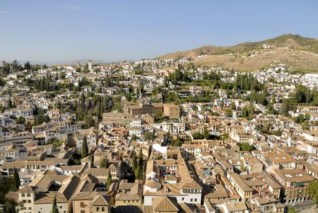 bird view: Bird view of the Albaicin in Granada as seen from Alhambra towers, Andalusia, Spain