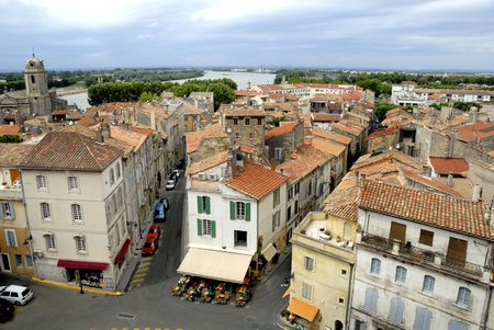bird view: Bird view of the city of Arles in France. No number plates, no brand names and no people