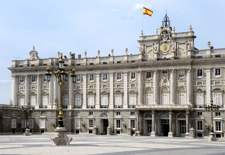 The Royal Palace of the King of Spain in Madrid, Europe with the Spanish flag at the roof Stock Photo