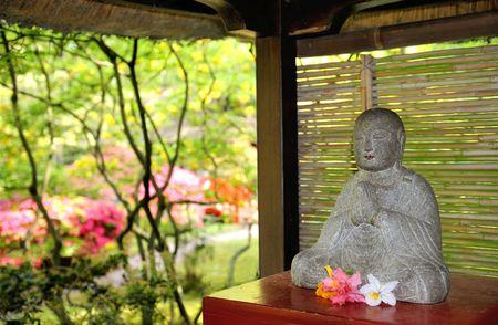 exoticism: Old Buddha statue in japanese garden