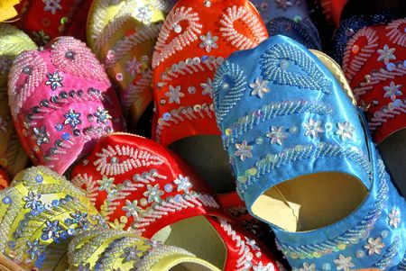 souk: Handmade Moroccan shoes in the souk of marrakesh