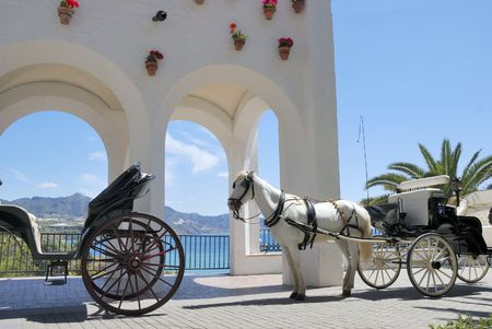 malaga: Horse driven carriage in Nerja (near Malaga) in Spain