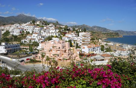 nerja: The village of Nerja in Spain. This is a very well know beach resort. Stock Photo