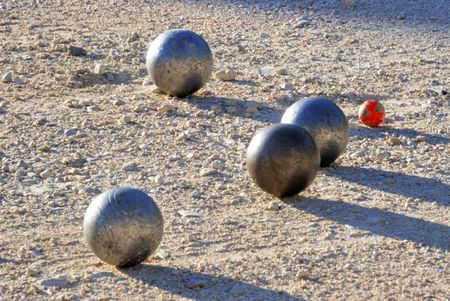 french boule: Playing jeu de boules in France,Europe Stock Photo
