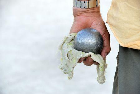 Playing jeu de boules in France,Europe Stockfoto