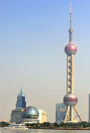 Oriënteren Pearl Tower en Pudong financiële District, Shanghai, China