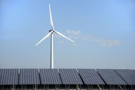 Solar cells and power wind mill in Holland