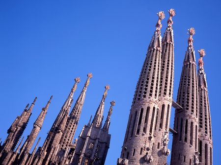 uncomplete: The uncompleted Sagrada Familia Church by Antoni Gaudi in Barcelona, Spain Editorial