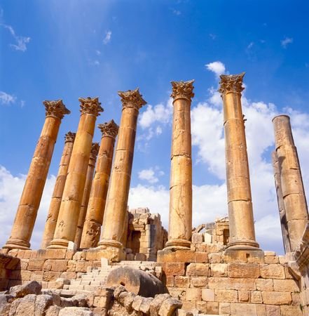 The Temple of Artemis is a Roman Temple in Jerash, Jordan, It was built around the middle of the 2nd century A.D. during the reign of Antoninus Pius. Atemis was the goddess of chastity, protectoress of nature and children. photo