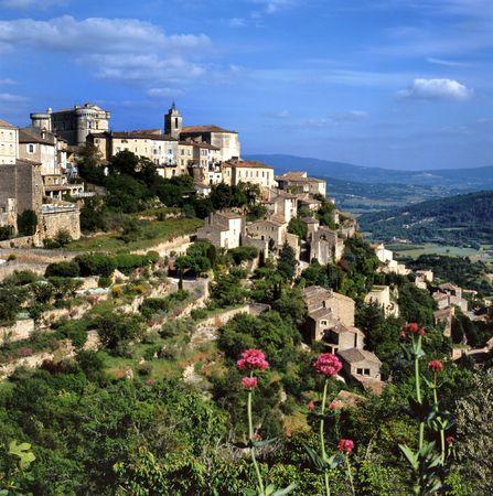 Bekijken van Gordes, de meest prachtige stad van de Provence, Frankrijk  Stockfoto
