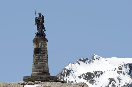 st  bernard: Statue of St Bernard on the top of the Grand St Bernard pass, at the border of Italy and Switzerland