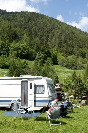 Camping with caravans at the border of france and Italy