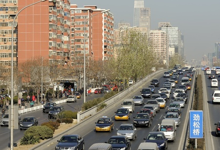 slowdown: Traffic jam at a highway in Beijing, China