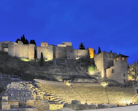 roman amphitheater: Old Roman theater in Malaga, Spain by night