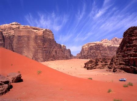 Explorar con una cuatro ruedas el desierto de Wadi rum en Jordania